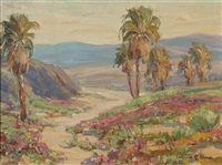 palm trees in blooming desert landscape by benjamin chambers brown