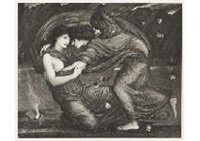 cupid and psyche, marguerite (set of 2) by edward burne-jones