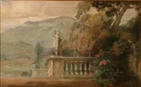 southern landscape with a sculpture in the foreground and mountains in the background by carl forup