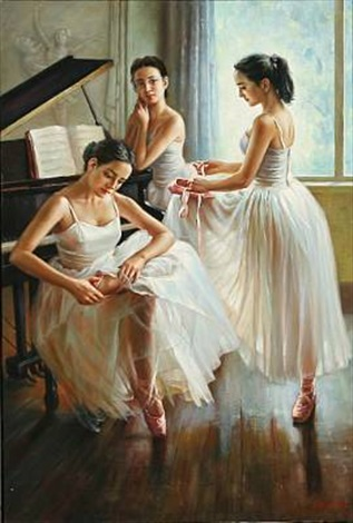 three ballet girls by a piano by alexander akopov