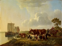 flussufer mit schiffen und kühen by leendert de koningh