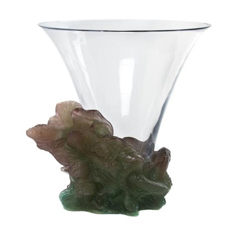 a daum glass and pate de verre glass vase