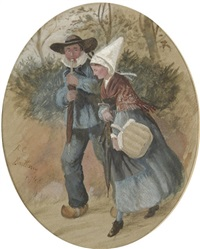 a breton couple walking through a forest by randolph caldecott