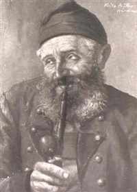 man in a green hat;                     man with long pipe by fritz müller