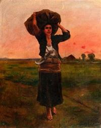 heimkehrende bäuerin mit sichel by jules breton