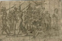 a triumphal procession, with soldiers followed by bound captives on a cart pulled by oxen (triumph of faith?) by lazzaro tavarone