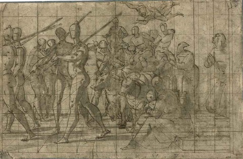 a triumphal procession with soldiers followed by bound captives on a cart pulled by oxen triumph of faith by lazzaro tavarone