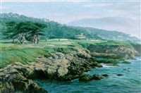 playing the 17th green, cypress point, california by arthur weaver