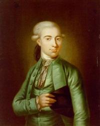portræt af fornem herre med allongeparyk, ifort gron dragt og med hat under armen by herman koefoed