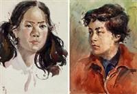 肖像 (二幅) (2 works) by ha ding