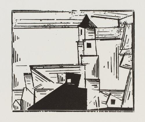 troistedt 1919 (1978) / auf der quaimauer 1923 (1983) / gelbe dorfkirche 3 1931 (1978) (3 works) by lyonel feininger