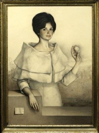 retrato de mujer en blanco con piedra en la mano by claudio bravo