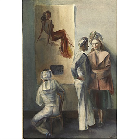 untitled (two sailors and a model) (+ untitled (trashmen); 2 works) by wilma maria prezzi