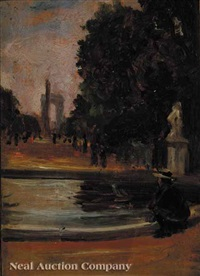 a view of the arc de triomphe from the tuileries gardens by henry salem hubbell