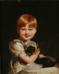 child and cat by charles robert leslie