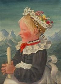 kleines mädchen im festtagsgewand, eine kerze haltend by elisabeth voigt