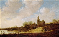 a river landscape with a gothic church by jan josefsz van goyen