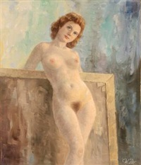 a nude female standing in front of a painting by wolmer zier