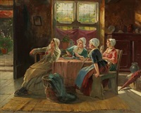 dutch interior with four ladies at a table by adolf raufer