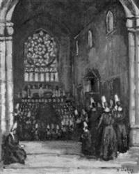 kircheninterieur während eines gottesdienstes by hubert weber