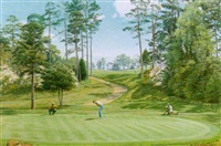 playing the 6th green, augusta national, georgia by arthur weaver