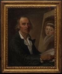 portrait d'un homme d'esprit lisant solfèges d'italie avec la basse chiffrée sous le regard d'une élégante by french school (18)