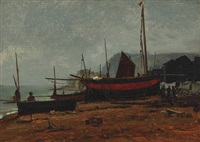 fishing boats on the beach by wilhelm ferdinand xylander