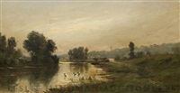 river with ducks by william hull