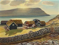 a view in the faroe islands by joen waagstein
