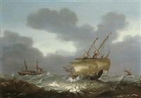 segelschiffe auf stürmischer see by hans (johan) goderis