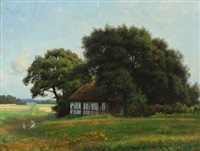 summer landscape at a thatched house by emilie (caroline e.) mundt