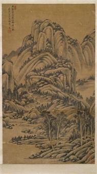 berglandschaft mit weiler by wang lu