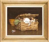 drei kleine katzen in einem geflochtenen korb vor einer schale und einer rolle bindfaden by alphonse marx