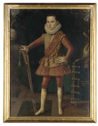 portrait of vittorio amedeo i, duke of savoy, as a child, in a fawn doublet embroidered with gold and silver and red hose, an arquebus in his right hand and his a helmet on a table beside him by jan kraek