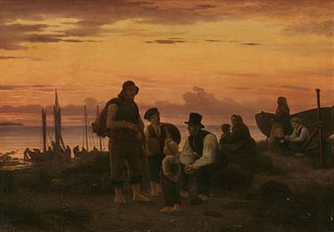 the fishermen of hornbæk gathering in the evening after a workday by peter johann p raadsig