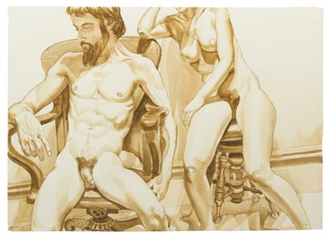 seated male and female models in office chair and piano stool by philip pearlstein