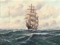 a three-masted barque at full-sail by alfred gabali