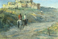riders on horseback near an adobe by robert wagoner