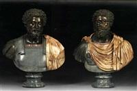 prunk-büsten des marcus aurelius und des caracalla (pair) by benedetto boschetti