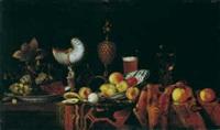 prunkstilleben mit nautilus- und ananaspokal und früchten by georg hainz