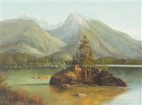 berchtesgaden alpine lake scene by ludwig muninger
