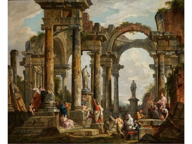 römische ruinenarchitektur mit predigendem heiligen paulus by giovanni paolo panini