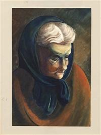 porträt seiner frau agnes/ dorfansicht in gebirgiger landschaft (2 works) by christian arnold