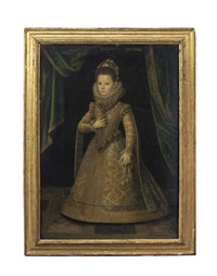 portrait of maria margherita di savoia, duchess of mantua, aged six, full-length, in an elaborately embroidered dress set with pearls, before a raised green curtain by jan kraek