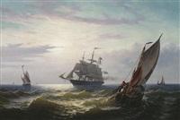 dreimaster und fischerboote auf hoher see bei abendstimmung by jacob willem gruyter