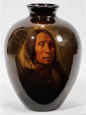 lone elk sioux indian by rookwood pottery