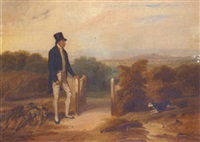 mr. coke of holkham, with his dog in a landscape by william smith
