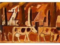 vaches dans une drève (l'étable) by gustave de smet