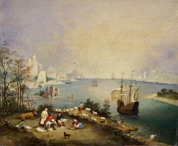 bauern bei der schafsschur vor einer meereslandschaft mit segelboot by pieter brueghel the younger