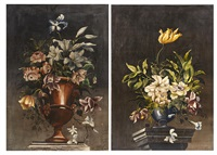 a pair of floral still lifes by continental school (19)